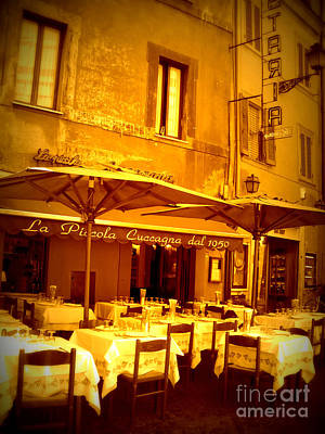 Golden Italian Cafe Art Print