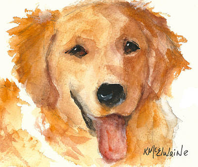 Golden Retriever Watercolor Painting By Kmcelwaine Art Print
