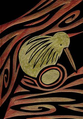 Kiwi Mixed Media - Golden Kiwi by Roseanne Jones