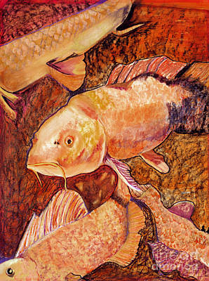 Mixed Medium Painting - Golden Koi by Pat Saunders-White