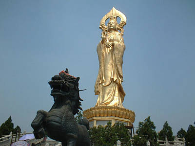 Photograph - Golden Kwan Yin by Melissa Stinson-Borg