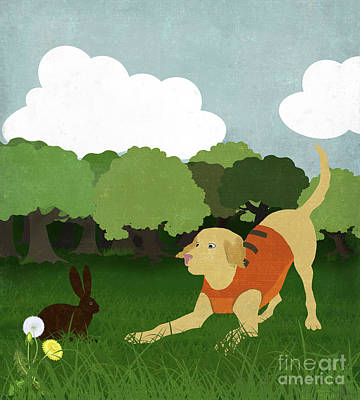 Gold Labrador Painting - Golden Lab Hunter In Training, Bunny Rabbit by Tina Lavoie