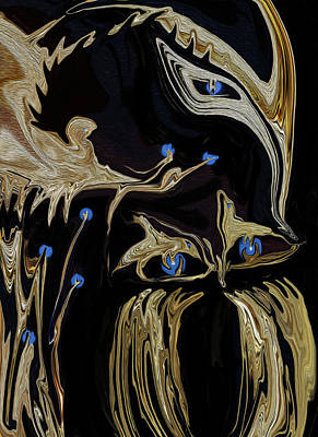 Digital Art - Golden Lady And The Owl by Sherri's Of Palm Springs