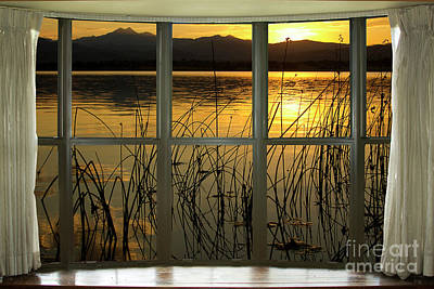 Golden Lake Bay Picture Window View Art Print
