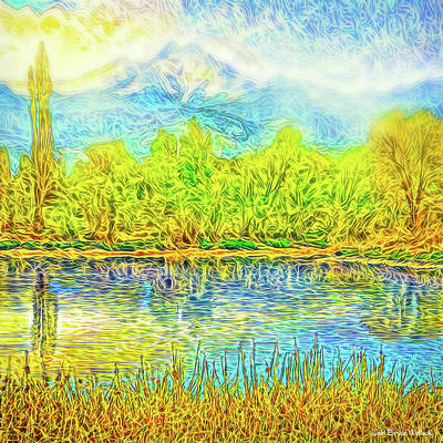 Golden Lake Reflections Art Print