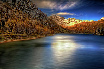 Photograph - Golden Lakescape by Roberto Pagani
