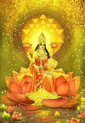 Mixed Media - Golden Lakshmi by Lila Shravani