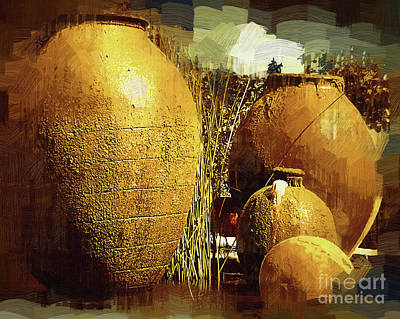 Digital Art - Golden Large Fountain Urns by Kirt Tisdale