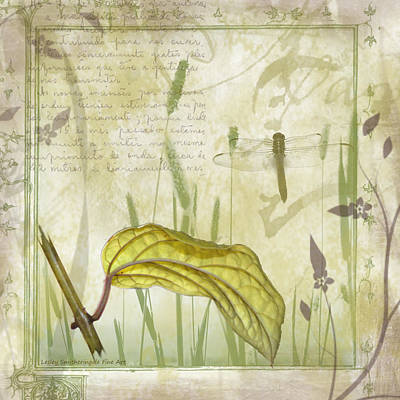 Journal Digital Art - Golden Leaf And Dragonfly by Lesley Smitheringale