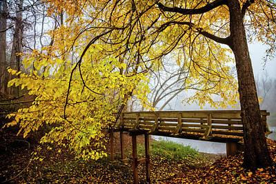 Photograph - Golden Leaves Over The Bridge by Debra and Dave Vanderlaan