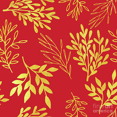 Golden Leaves, Rich Venetian Red Pattern Art Print by Tina Lavoie