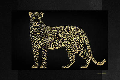Digital Art - Golden Leopard On Black Canvas by Serge Averbukh