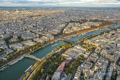 Golden Light Along The Seine Art Print by Mike Reid