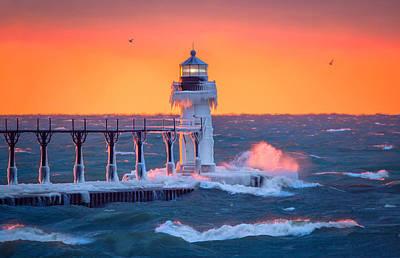 Novak Photograph - Golden Light At The Lighthouse by Jackie Novak