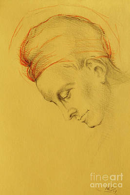 Drawing - Golden Light Homage To Michelangelo - Italian Renaissance Drawings In Pencil, Graphite, Sanguine by Alessandro Nesci