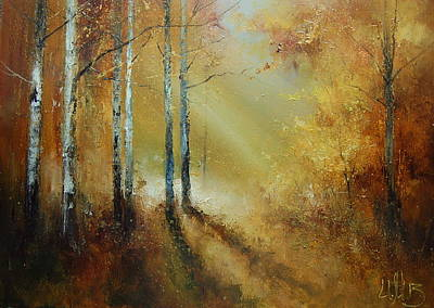 Painting - Golden Light In Autumn Woods by Igor Medvedev