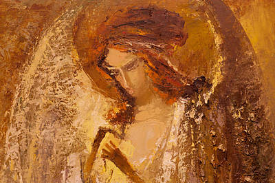 Painting - Golden Light Of Angel. Fragment by Valentina Kondrashova