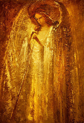 Golden Light Of Angel Art Print by Valentina Kondrashova