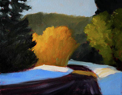 Original featuring the painting Golden Light Winter Road by Nancy Merkle