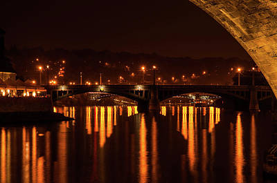 Photograph - Golden Lights Reflections. Prague by Jenny Rainbow