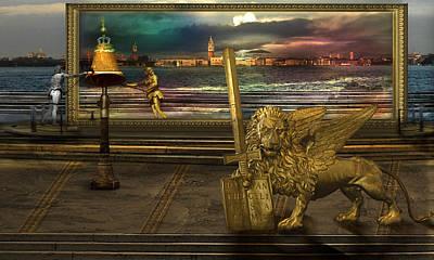 Golden Lion From Alternative Earth Art Print by Desislava Draganova