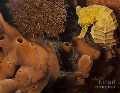 Painting - Golden Longsnout Seahorse by Alan Feldmesser