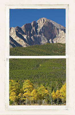Photograph - Golden Longs Peak View Through White Rustic Distressed Window by James BO Insogna