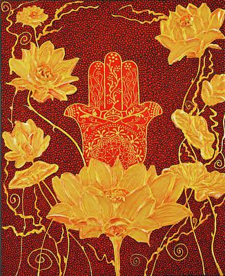 Painting - Golden Lotus - Hamsa Hand by Olesea Arts