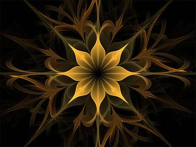 Digital Art - Golden Lotus Swirls by Barbara A Lane