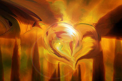 Print featuring the digital art Golden Love by Linda Sannuti