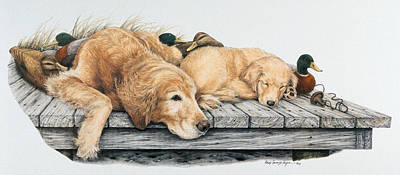 Puppy Mixed Media - Golden Memories Golden Dreams by Cary Savage-Ingram