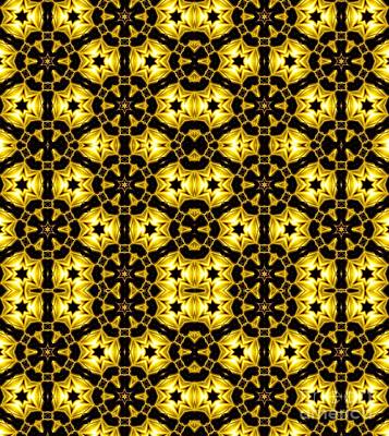 Photograph - Golden Metallic Lights Kaleidoscope Mandala Abstract 1 by Rose Santuci-Sofranko