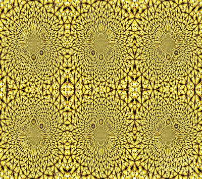 Photograph - Golden Metallic Lights Kaleidoscope Mandala Abstract 3 by Rose Santuci-Sofranko