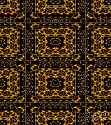 Photograph - Golden Metallic Lights Kaleidoscope Mandala Abstract 4 by Rose Santuci-Sofranko