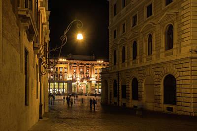 Photograph - Golden Midnight - Night Walk In Rome Italy by Georgia Mizuleva