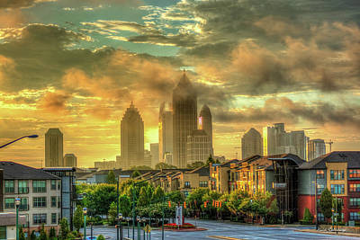 Photograph - Golden Midtown Towering Over Atlantic Station Art by Reid Callaway