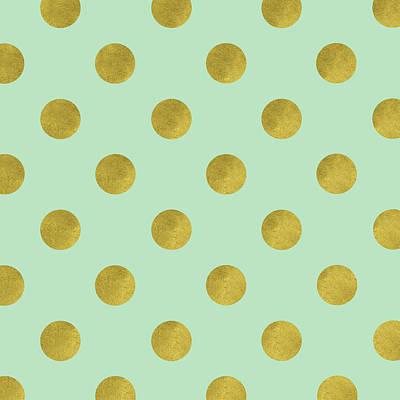 Golden Mint Dots Art Print