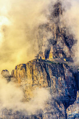 Photograph - Golden Mist On Cathedral Mountain by Ronald Santini