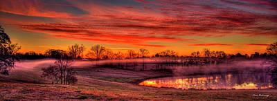 Golden Mist Sunrise Walker Farm Art Art Print by Reid Callaway