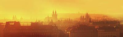 Photograph - Golden Misty Prague Panorama by Jenny Rainbow