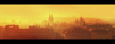Photograph - Golden Misty Prague Panorama With Black Frames by Jenny Rainbow