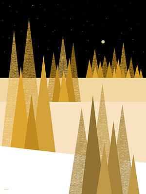 Digital Art - Golden Moonlight by Val Arie