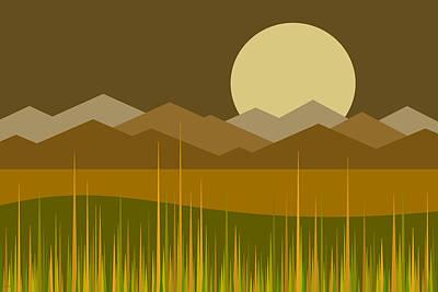 Digital Art - Golden Moonrise by Val Arie
