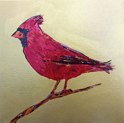 Mixed Media - Golden Morning Cardinal by Lisa McKinney