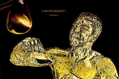 Gold Glove Digital Art - Golden Muhammad Ali  by Brian Reaves