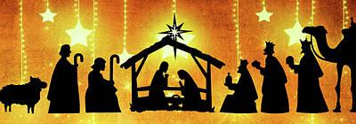 Photograph - Golden Nativity by Munir Alawi