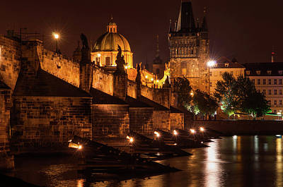 Photograph - Golden Necklace Of Lights. Charles Bridge  by Jenny Rainbow