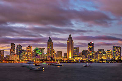 Golden Night In San Diego Print by Peter Tellone