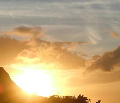 Golden Oahu Sunset Art Print by Karen J Shine