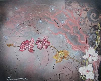 Wall Art - Painting - Golden Orchid by Hasaan Kirkland